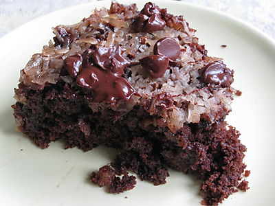 Upside-down chocolate chip cake