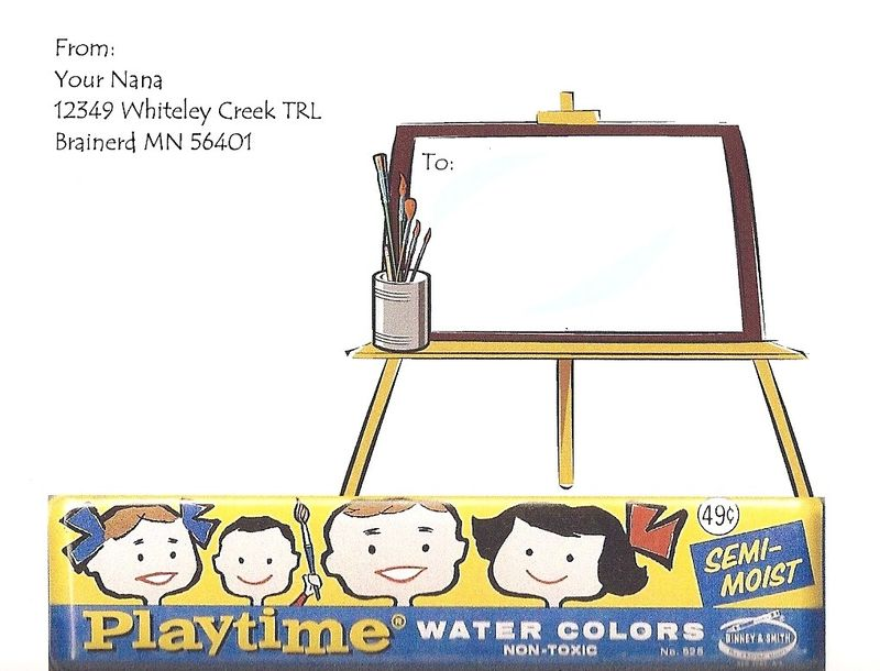 Playtime water colors postcard