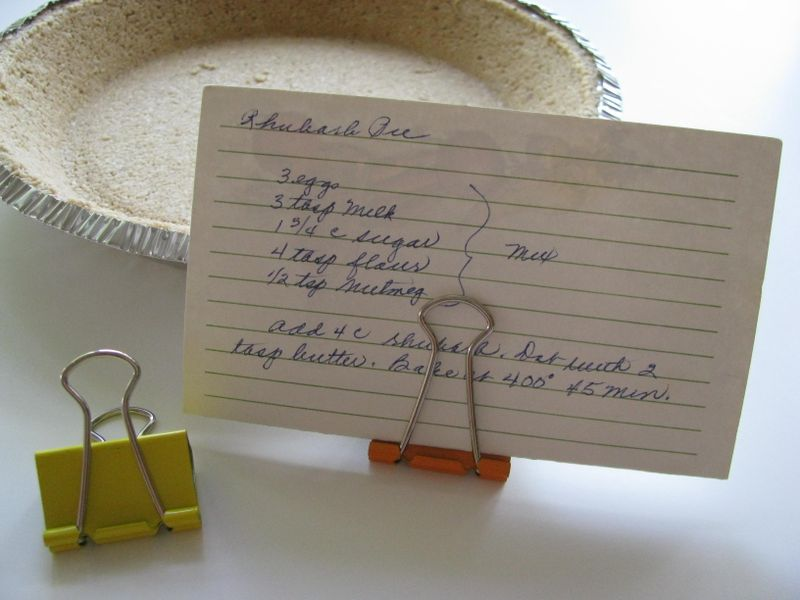 Recipe card holder and granola pie crust