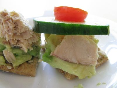 Salmon and avocado on crackers