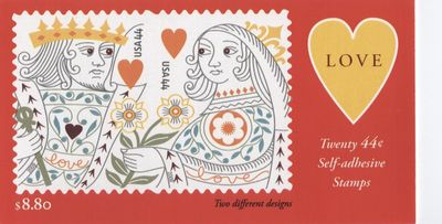 King and queen of hearts stamp booklet