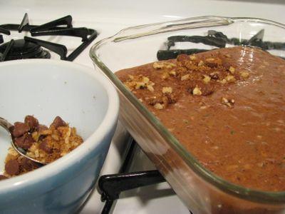 Chocolate zucchini cake batter