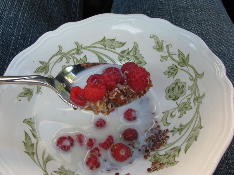 Quinoa with raspberries