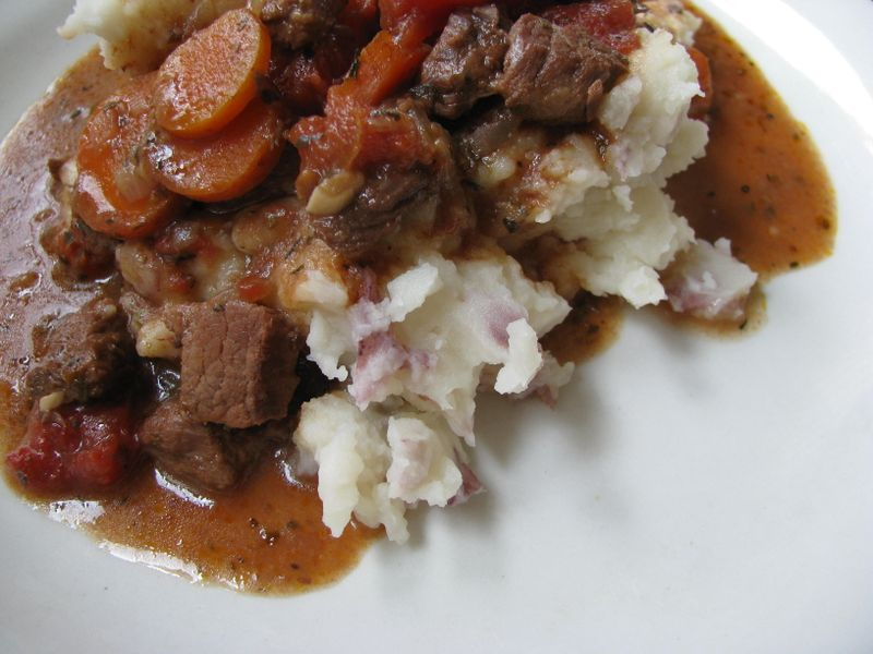 Beef bourguignon over mashed potatoes