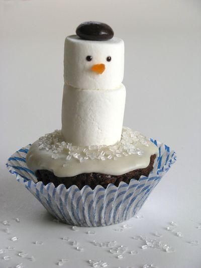 Snowman cupcake3