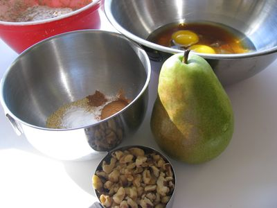 Pear pecan muffin ingredients gathered