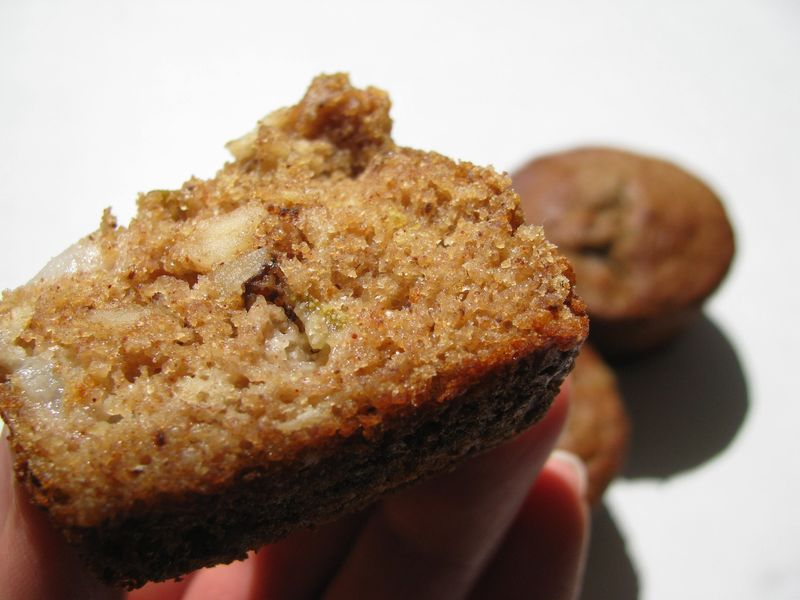 Pear pecan muffins baked
