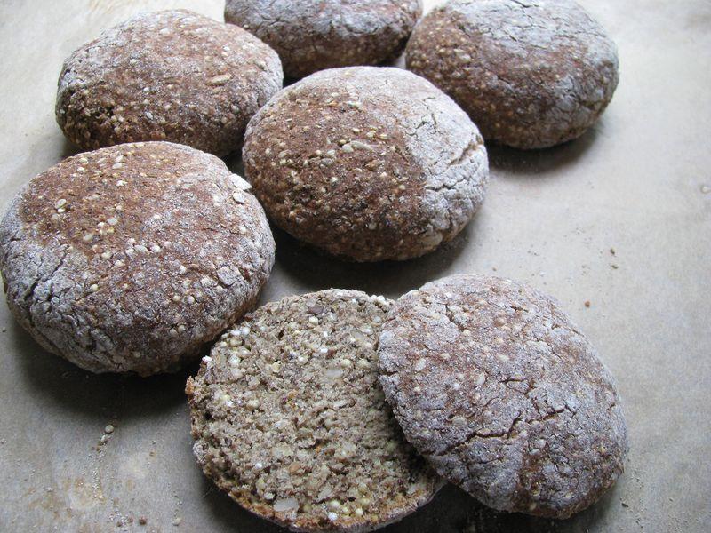 Hearty grain buns baked