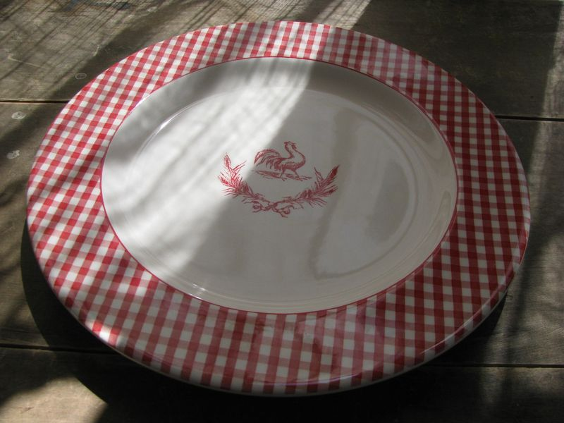 Red gingham plate