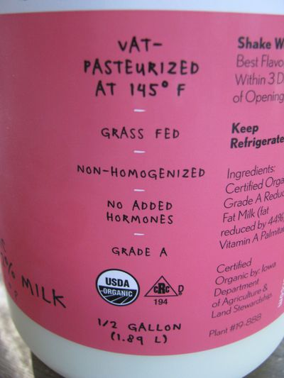 Kalona milk label