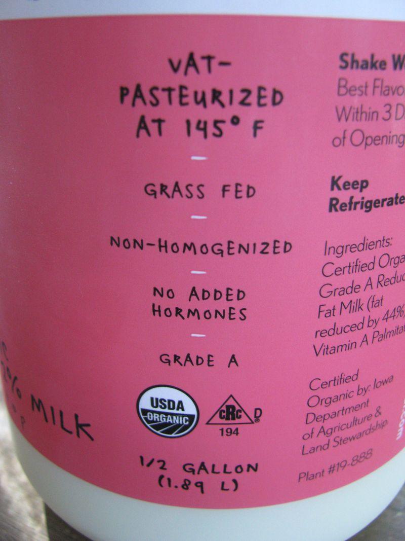 Kalona milk label