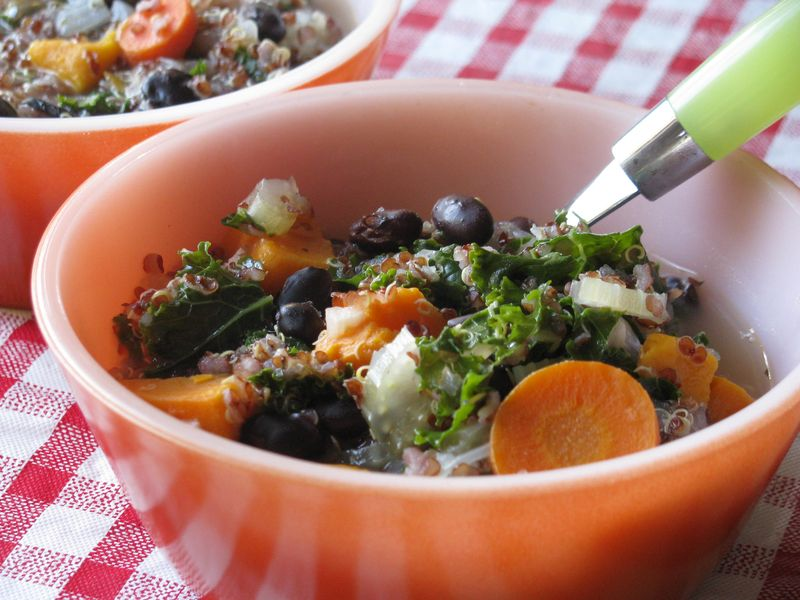 Kale quinoa black bean soup