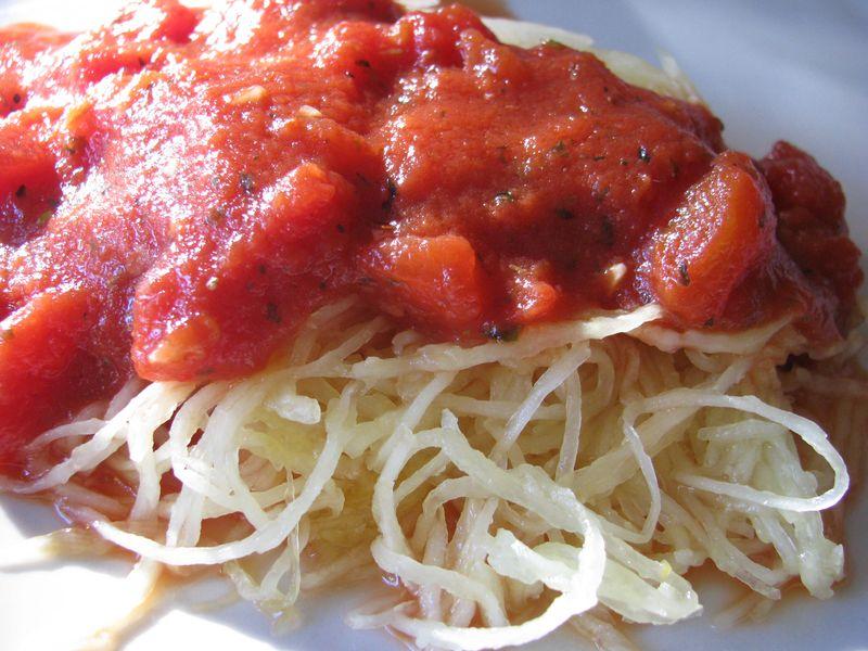 Tomato sauce atop spaghetti squash