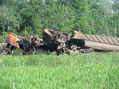 Train derailment closeup