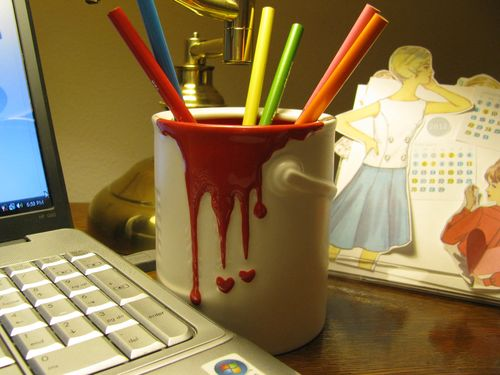 Ceramic paint can pencil holder
