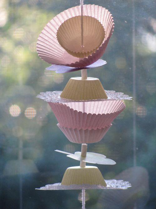 Pink cupcake liner garland