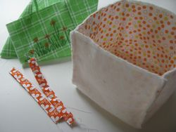 Fabric basket  + lining + loops