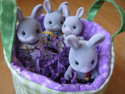 Fabric basket + bunnies