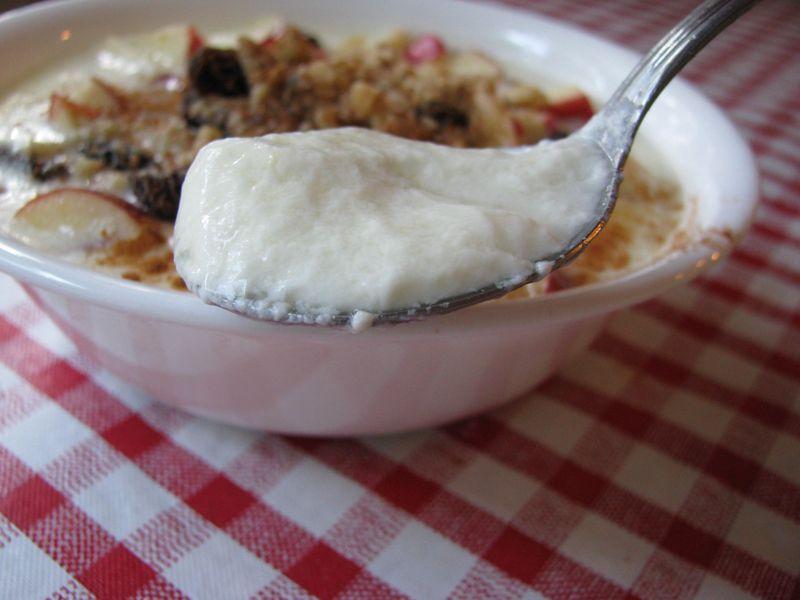 Crockpot yogurt spoonful