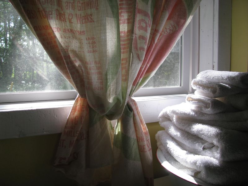 Feedsack curtain