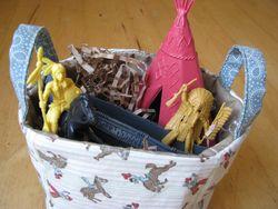 Cowboy indian fabric basket