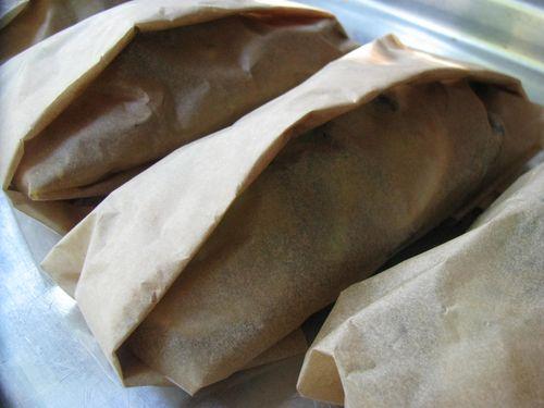 Fish + veggie wrapped parcel