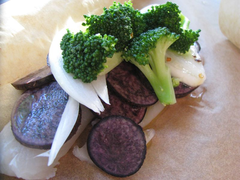 Fish + veggie parcel prebaked