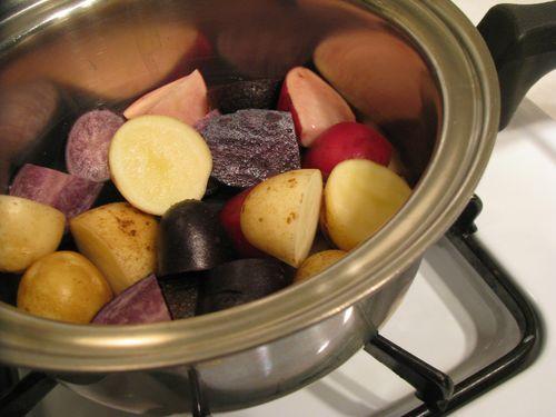 Red white purple potatoes