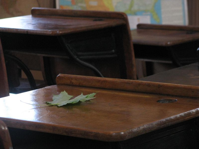 One-room schoolhouse desk