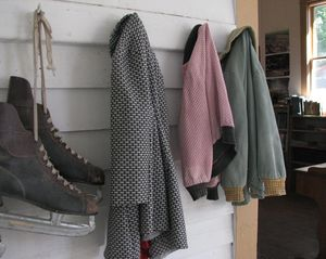 One-room schoolhouse cloak room coats