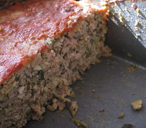 Green puree meatloaf baked