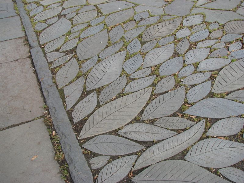 Concrete leaf walkway