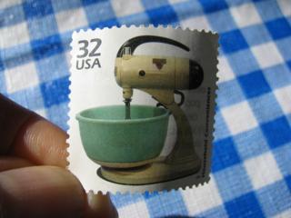 Vintage mixer postage stamp