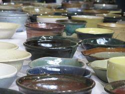 Empty bowls displayed