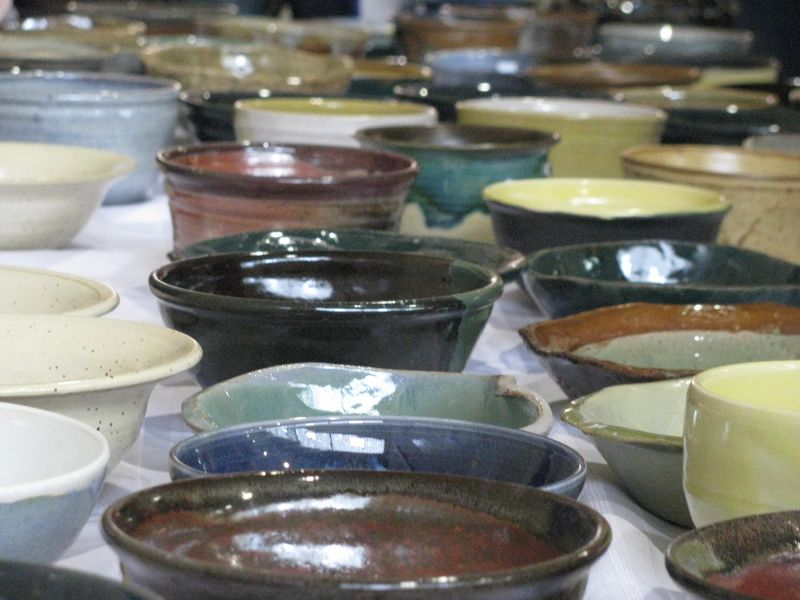 Empty bowls displayed