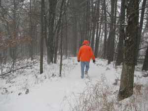 Dick snowy hike in our woods