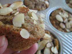 Almond pulp muffins with cherries and chia
