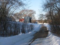 Leaning silo driveway