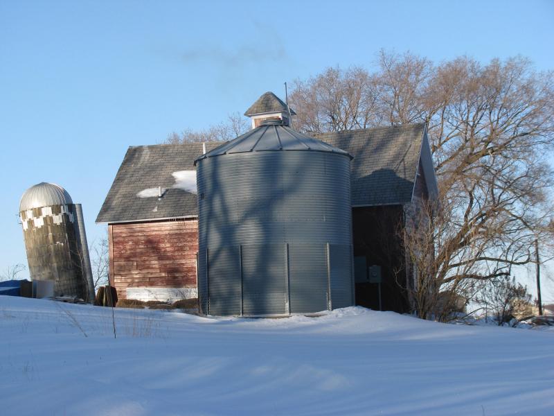 Leaning silo farm schoolhouse